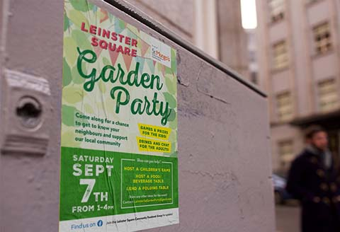 Leinster Square garden party poster